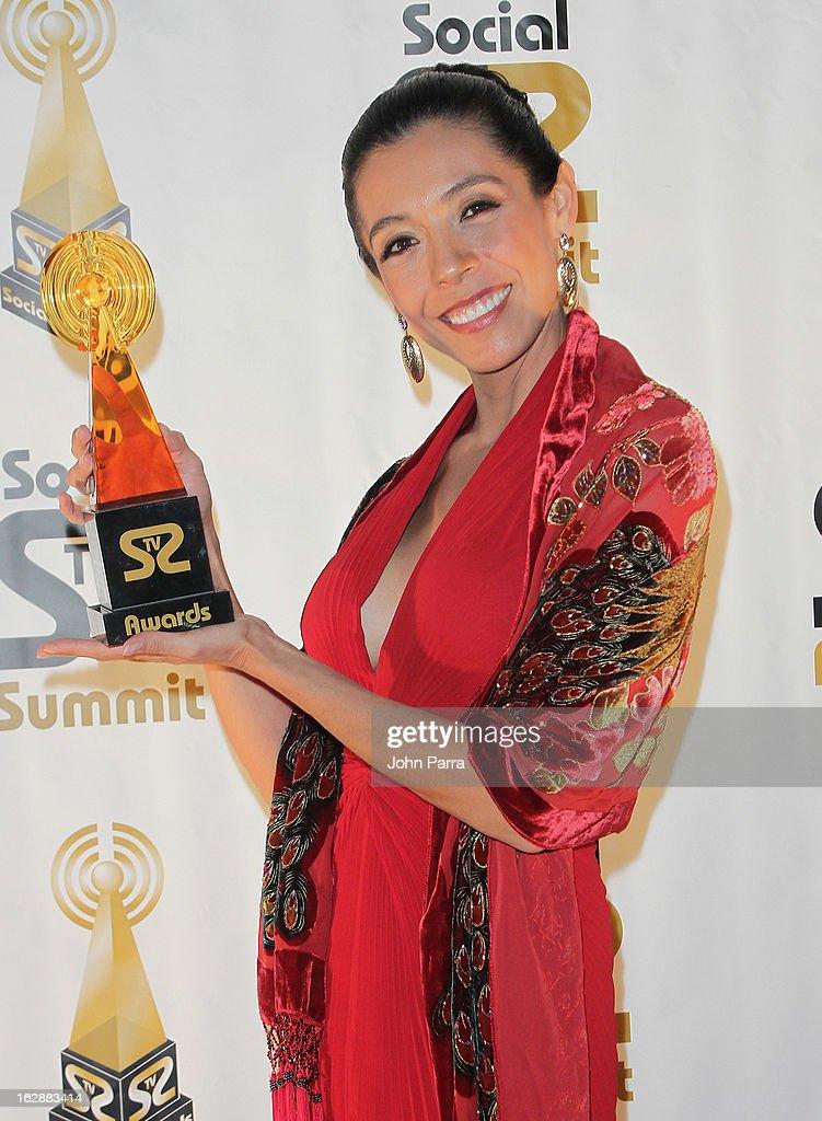 Natalia Urrego poses with an award the 2013 Latin Social TV Awards at Fontainebleau Miami Beach on February 28, 2013 in Miami Beach, Florida.