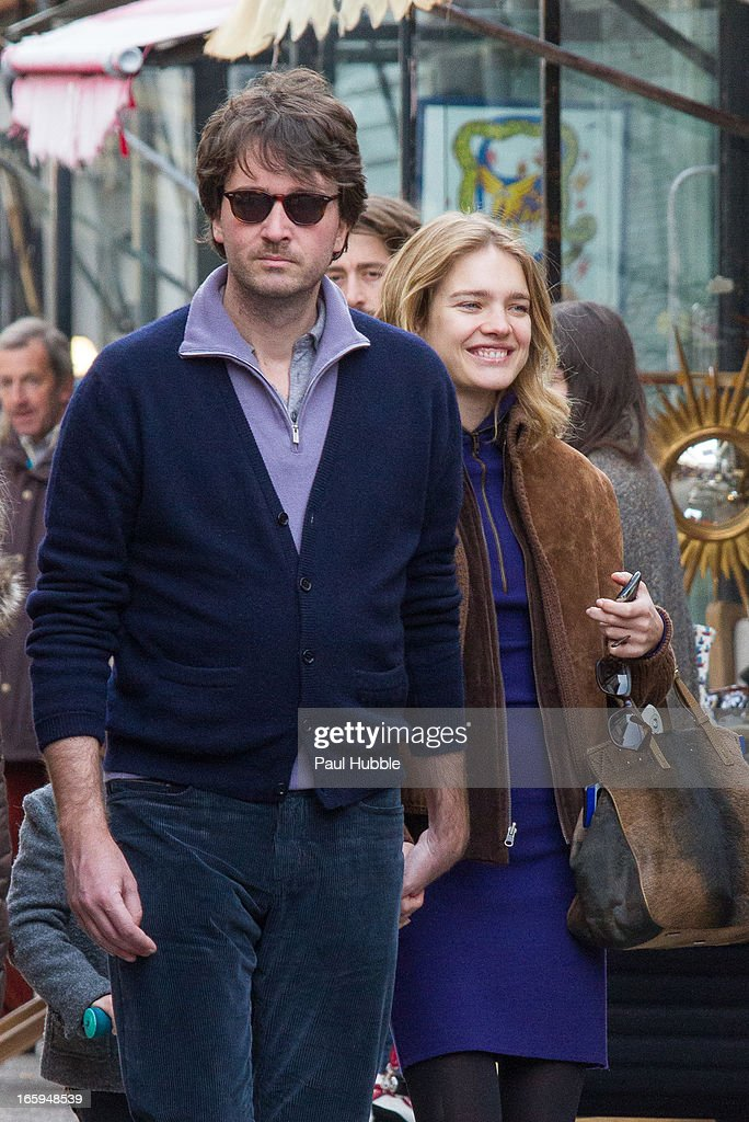 Natalia Vodianova and Antoine Arnault are seen strolling at the flea market on April 7 2013 in Paris France