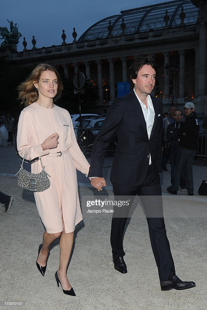 Natalia Vodianova and Antoine Arnault arrive at 'The Glory Of Water' : Karl Lagerfeld's Exhibition Dinner at Fendi on July 3, 2013 in Paris, France.