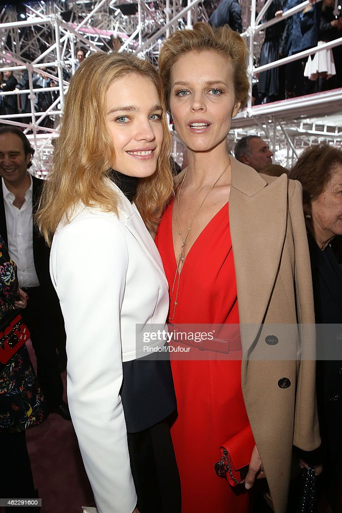 Natalia Vodianova and Eva Herzigova attend the Christian Dior show as part of Paris Fashion Week Haute Couture Spring/Summer 2015 on January 26, 2015 in Paris, France.