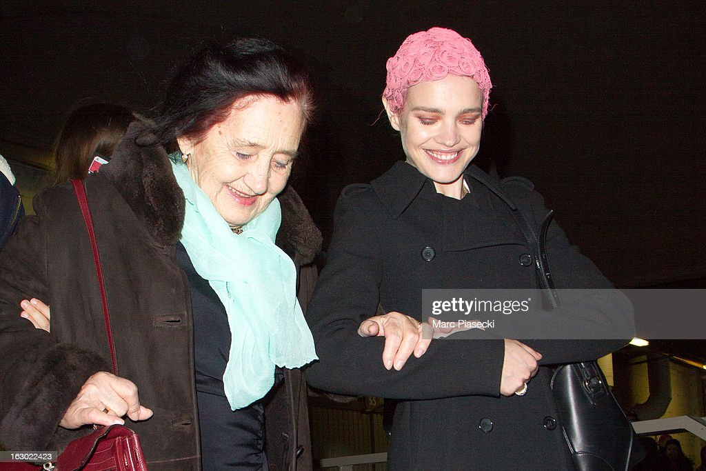 <a gi-track='captionPersonalityLinkClicked' href=/galleries/search?phrase=Natalia+Vodianova&family=editorial&specificpeople=203265 ng-click='$event.stopPropagation()'>Natalia Vodianova</a> (R) and her grandmother are seen leaving the 'Givenchy' Fall/Winter 2013 Ready-to-Wear show as part of Paris Fashion Week on March 3, 2013 in Paris, France.