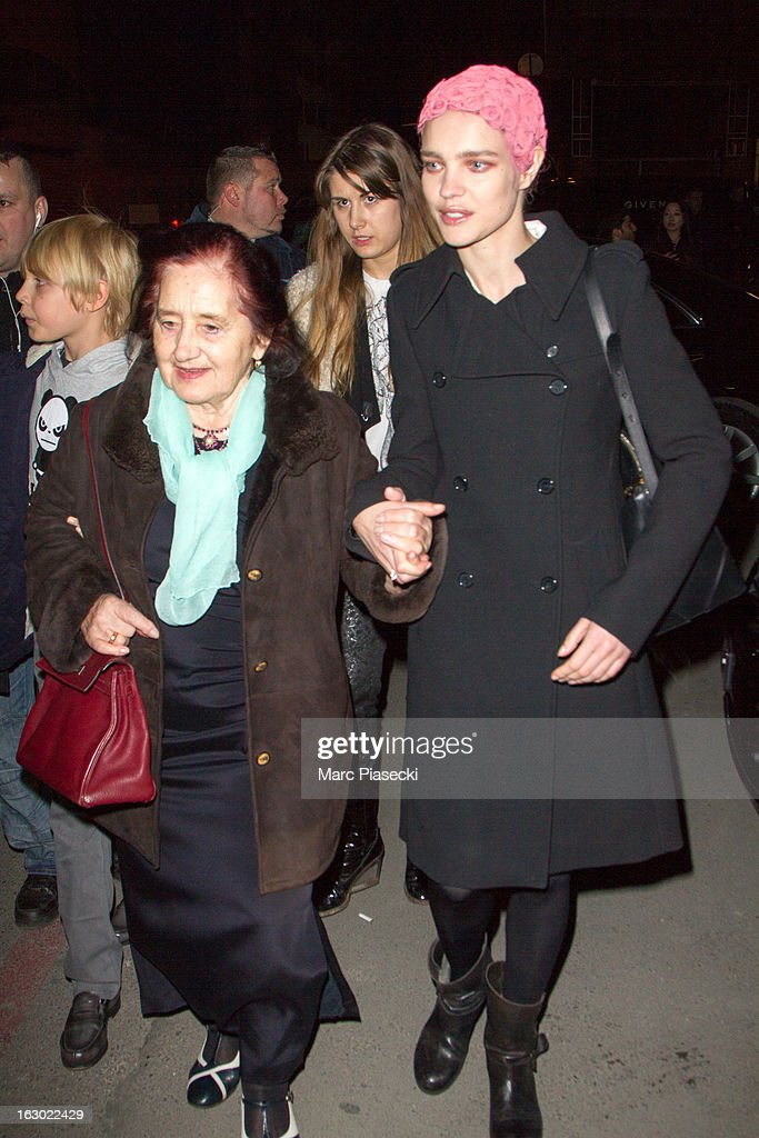 Natalia Vodianova (R) and her grandmother are seen leaving the 'Givenchy' Fall/Winter 2013 Ready-to-Wear show as part of Paris Fashion Week on March 3, 2013 in Paris, France.
