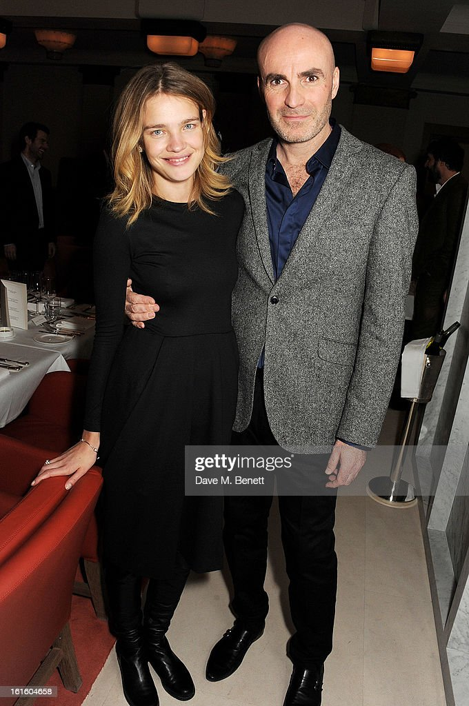 <a gi-track='captionPersonalityLinkClicked' href=/galleries/search?phrase=Natalia+Vodianova&family=editorial&specificpeople=203265 ng-click='$event.stopPropagation()'>Natalia Vodianova</a> (L) and Jason Brooks attend a private dinner hosted by Lucy Yeomans celebrating Jason Brooks at Cafe Royal on February 12, 2013 in London, England.