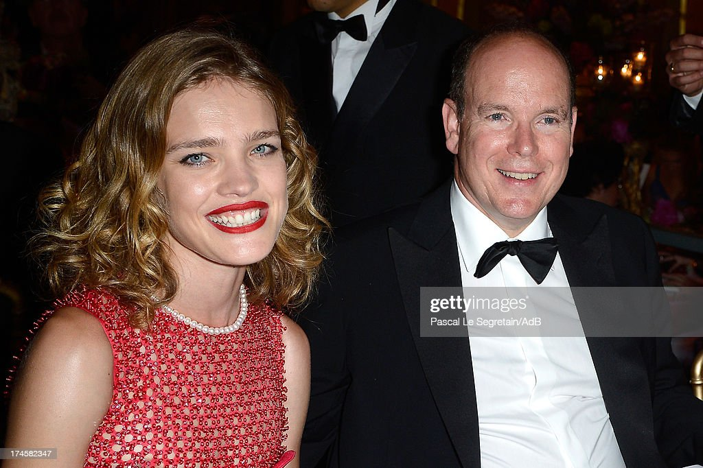 Natalia Vodianova and Prince Albert II of Monaco attend the dinner at the 'Love Ball' hosted by Natalia Vodianova in support of The Naked Heart Foundation at Opera Garnier on July 27, 2013 in Monaco, Monaco.