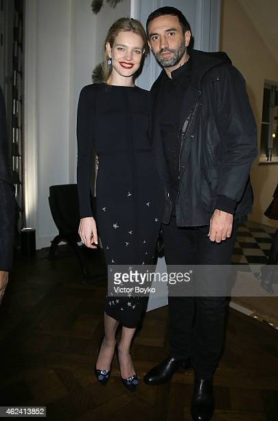 Natalia Vodianova and Riccardo Tisci attend the party for Dasha Zhukova' cover for Wall Street Journal on January 27 2015 in Paris France