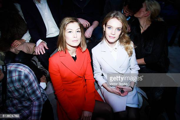 Natalia Vodianova and Rosamund Pike attend the Christian Dior show as part of the Paris Fashion Week Womenswear Fall/Winter 2016/2017 on March 4 2016...
