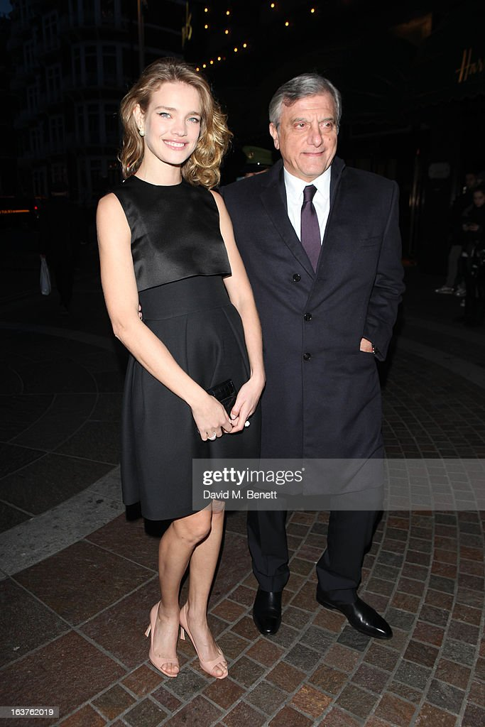 Natalia Vodianova and Sidney Toledano (President & CEO, Christian Dior Couture) arrive to launch Dior at Harrods on March 14, 2013 in London, England.