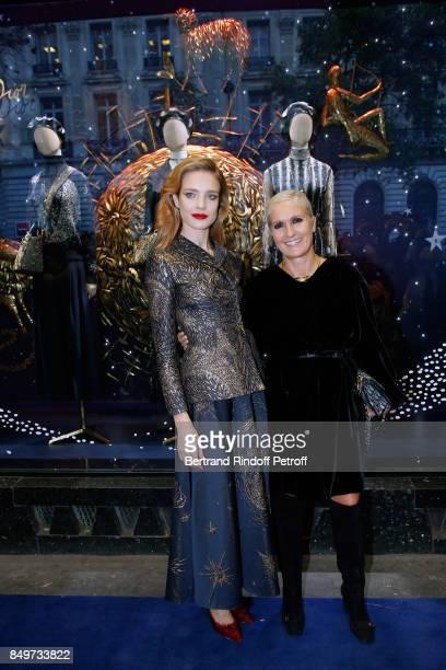 Natalia Vodianova and Stylist of Dior Maria Grazia Chiuri attend the Inauguration of the Dior showcases at Galeries Lafayette for Christian Dior...
