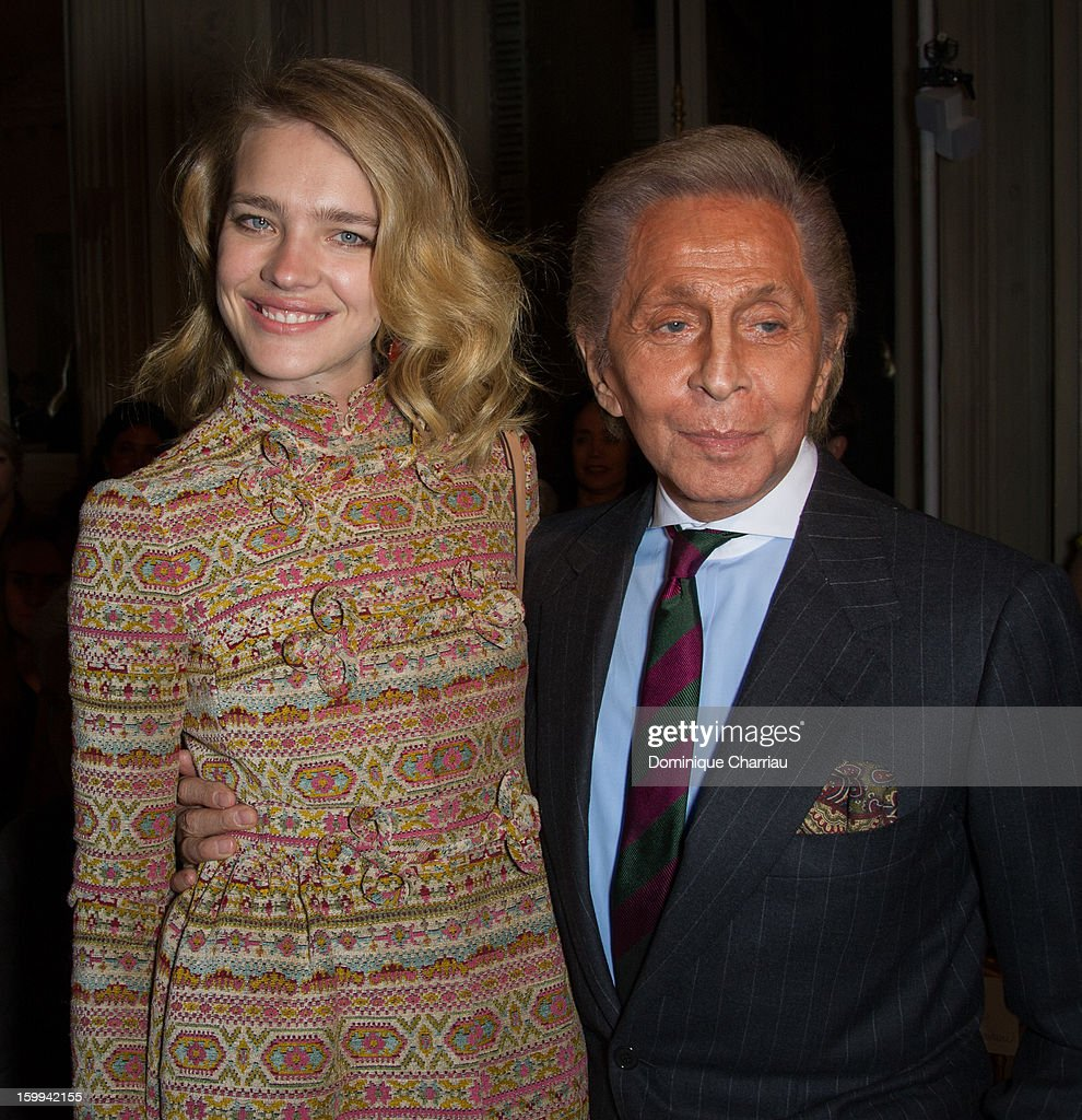 Natalia Vodianova and Valentino Garavani attend the Valentino Spring/Summer 2013 Haute-Couture show as part of Paris Fashion Week at Hotel Salomon de Rothschild on January 23, 2013 in Paris, France.