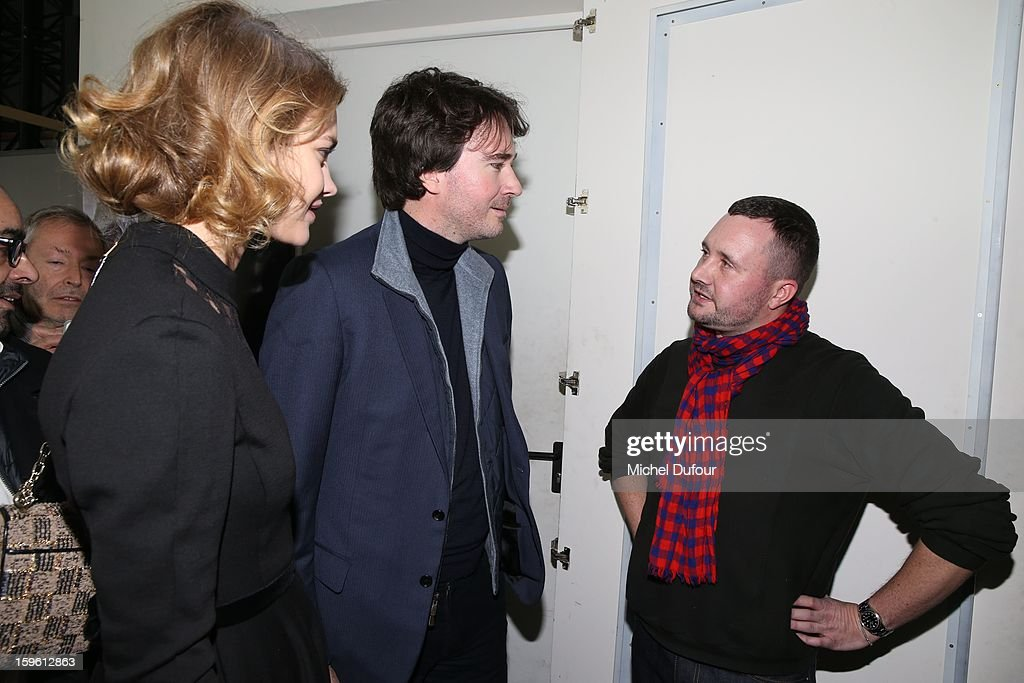 Natalia Vodianova, Antoine Arnault and Kim Jones attend the Louis Vuitton Men Autumn / Winter 2013 show as part of Paris Fashion Week on January 17, 2013 in Paris, France.