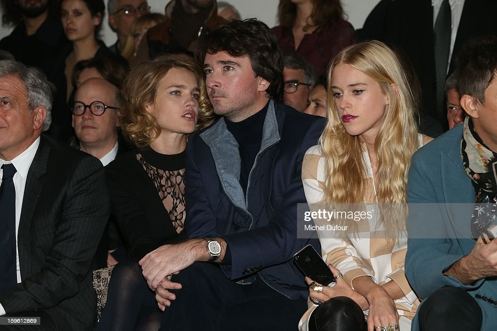 Natalia Vodianova, Antoine Arnault and Mary Charteris attend the Louis Vuitton Men Autumn / Winter 2013 show as part of Paris Fashion Week on January 17, 2013 in Paris, France.