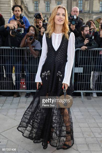 Natalia Vodianova arrives at the Louis Vuitton show as part of the Paris Fashion Week Womenswear Spring/Summer 2018 on October 3 2017 in Paris France