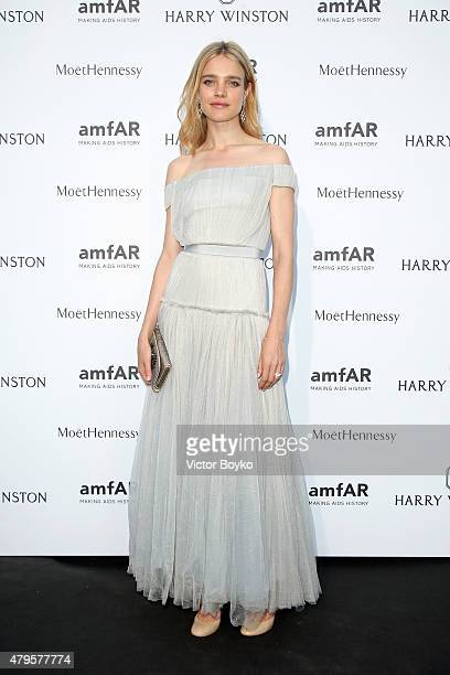 Natalia Vodianova attends the amfAR dinner at the Pavillon LeDoyen during the Paris Fashion Week Haute Couture on July 5 2015 in Paris France