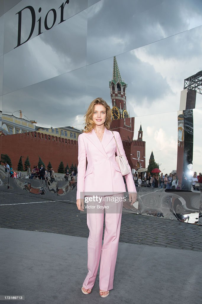 Natalia Vodianova attends the Dior A/W 2013-2014 show at Red Square on July 9, 2013 in Moscow, Russia.