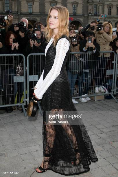 Natalia Vodianova attends the 'Louis Vuitton' fashion show at Louvre Pyramid on October 3 2017 in Paris France