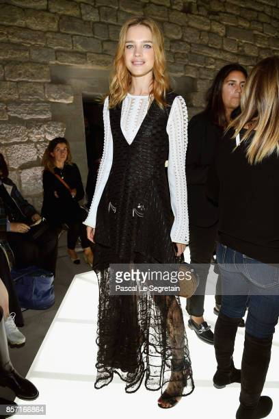 Natalia Vodianova attends the Louis Vuitton show as part of the Paris Fashion Week Womenswear Spring/Summer 2018 on October 3 2017 in Paris France
