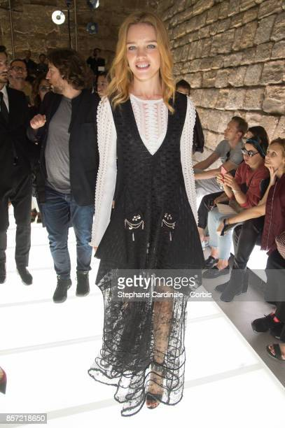 Natalia Vodianova attends the Louis Vuitton show as part of the Paris Fashion Week Womenswear Spring/Summer 2018 at Musee du Louvre on October 3 2017...