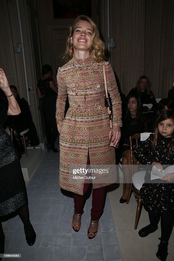 Natalia Vodianova attends the Valentino Spring/Summer 2013 Haute-Couture show as part of Paris Fashion Week at Hotel Salomon de Rothschild on January 23, 2013 in Paris, France.