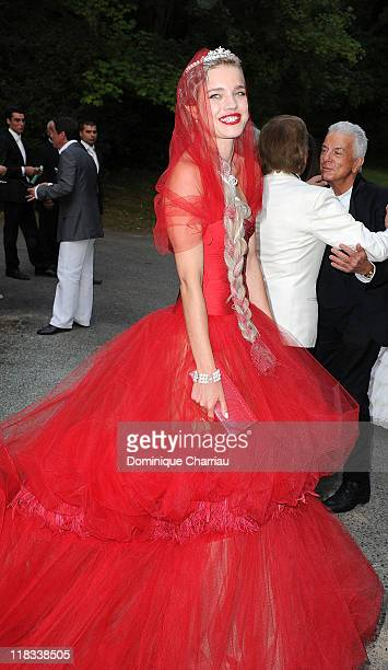 Natalia Vodianova attends 'The White Fairy Tale Love Ball' in Support of The Naked Heart Foundation at Chateau De Wideville on July 6 2011 in...