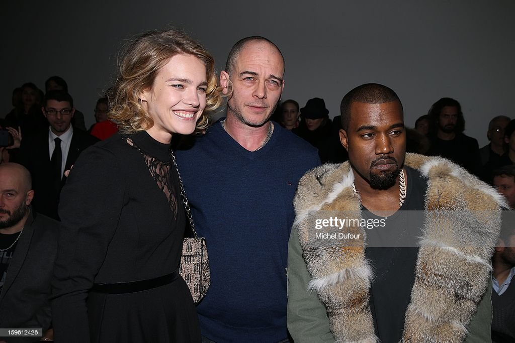 Natalia Vodianova, Dino Chapman and Kanye West attend the Louis Vuitton Men Autumn / Winter 2013 show as part of Paris Fashion Week on January 17, 2013 in Paris, France.