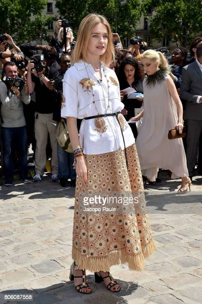 Natalia Vodianova is seen arriving at the 'Christian Dior' show during Paris Fashion Week Haute Couture Fall/Winter 20172018 on July 3 2017 in Paris...