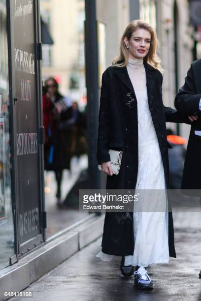 Natalia Vodianova is seen outside the Valentino show during Paris Fashion Week Womenswear Fall/Winter 2017/2018 on March 5 2017 in Paris France