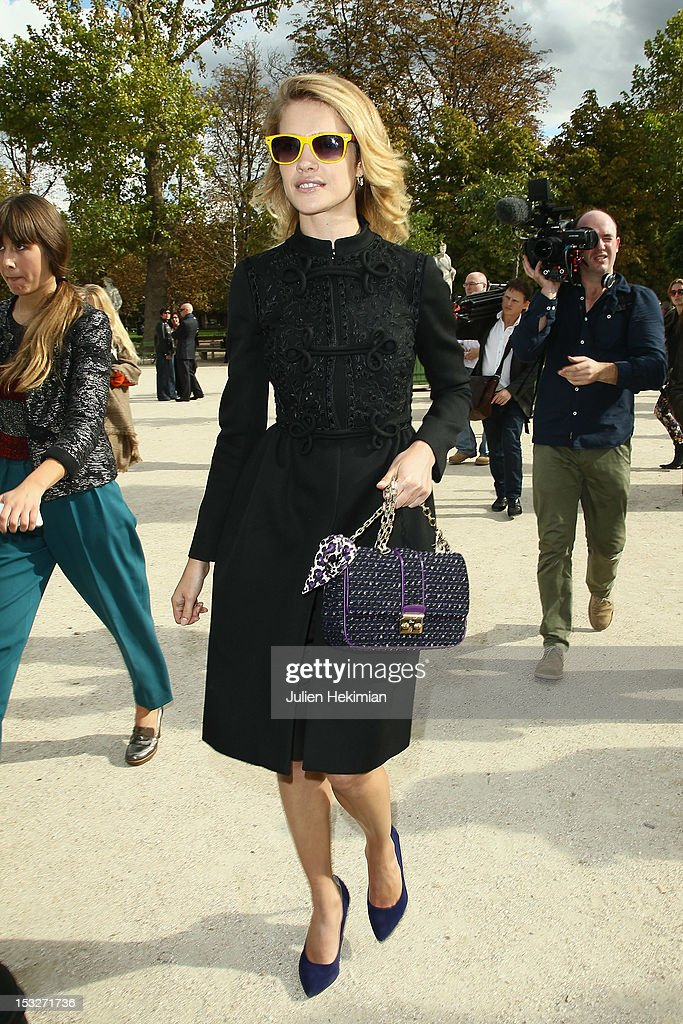 Natalia Vodianova leaves the Valentino Spring / Summer 2013 show as part of Paris Fashion Week at Espace Ephemere Tuileries on October 2, 2012 in Paris, France.