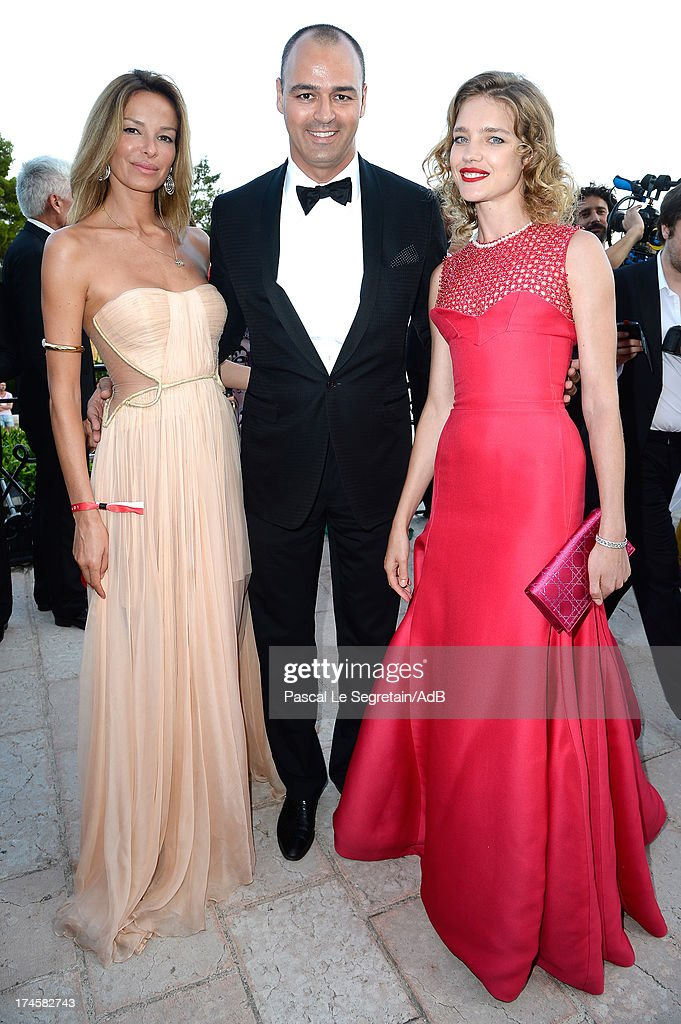 Natalia Vodianova (R), Milutin Gatsby (C) and Carolina Parsons (L) attend cocktail at 'Love Ball' hosted by Natalia Vodianova in support of The Naked Heart Foundation at Opera Garnier on July 27, 2013 in Monaco, Monaco.