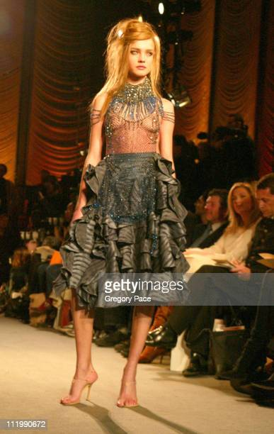 Natalia Vodianova on the runway during Zac Posen Fall 2003 Fashion Show at The Four Seasons Restaurant in New York NY United States