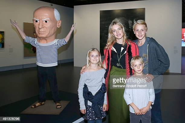 Natalia Vodianova with her children Viktor Neva and Lucas Alexander attend the 'Picasso Mania' Press Preview Held at Grand Palais on October 4 2015...