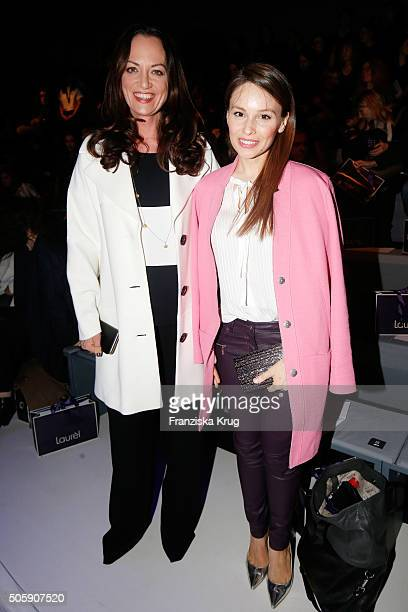 Natalia Woerner and Mina Tander attend the Laurel show during the MercedesBenz Fashion Week Berlin Autumn/Winter 2016 at Brandenburg Gate on January...