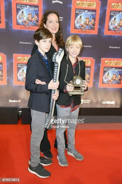 Natalia Woerner her son Jacob Seeliger and his friend Oskar attend the premiere of the children's show 'Spiel mit der Zeit' at Friedrichstadtpalast...