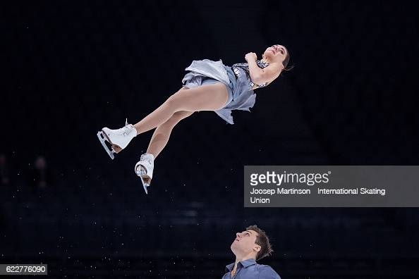 Natalia Zabiiako and Alexander Enbert of Russia compete during Pairs Free Skating on day two of the Trophee de France ISU Grand Prix of Figure...
