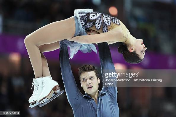 Natalia Zabiiako and Alexander Enbert of Russia compete during Senior Pairs Free Skating on day two of the ISU Junior and Senior Grand Prix of Figure...