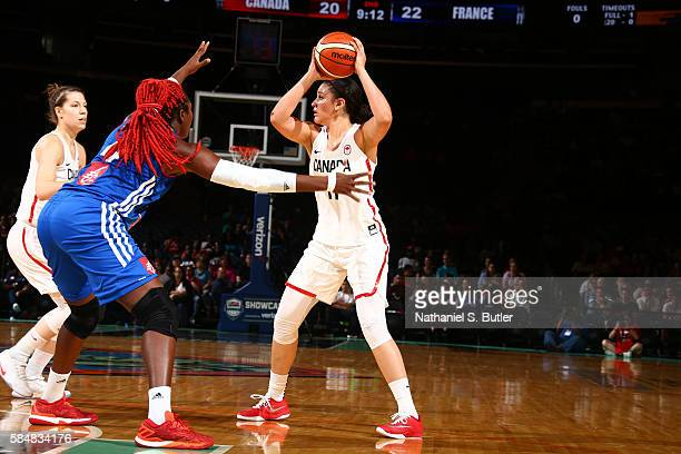 Natalie Achonwa of Canada passes the ball against France during a practice on July 31 2016 at Madison Square Garden in New York New York NOTE TO USER...