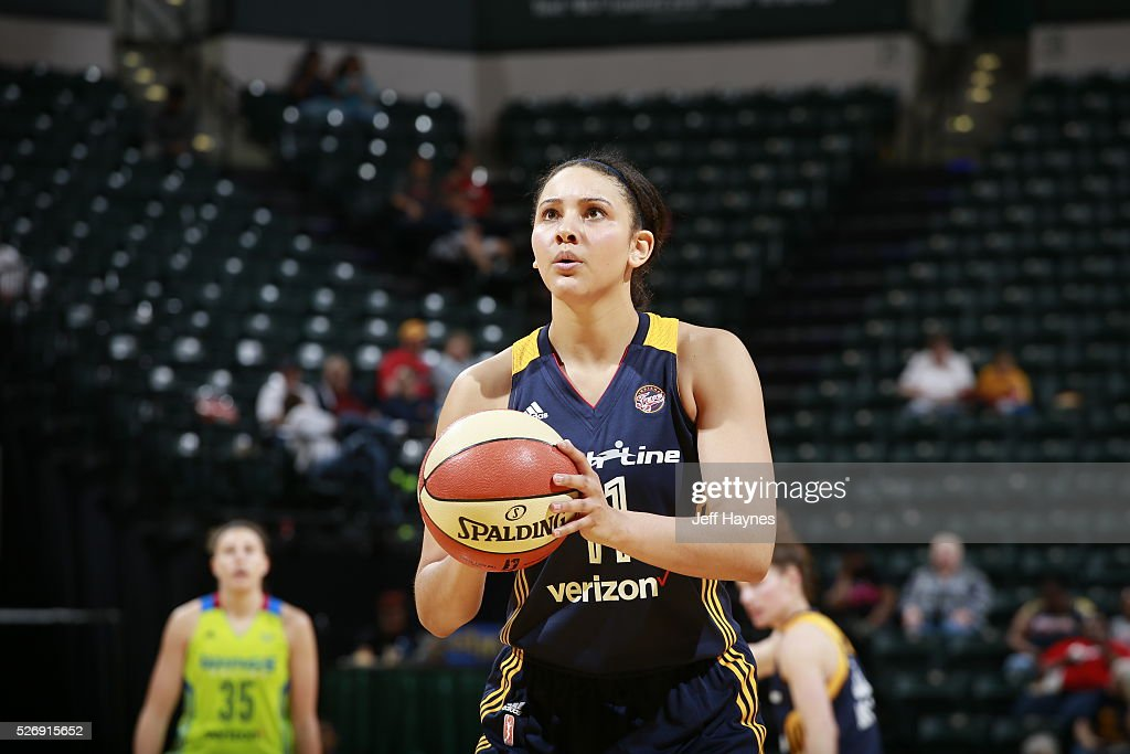 Natalie Achonwa #11 of Indiana Fever shoots a free throw against the Dallas Wings during a preseason game on May 1, 2016 at Bankers Life Fieldhouse in Indianapolis, Indiana.