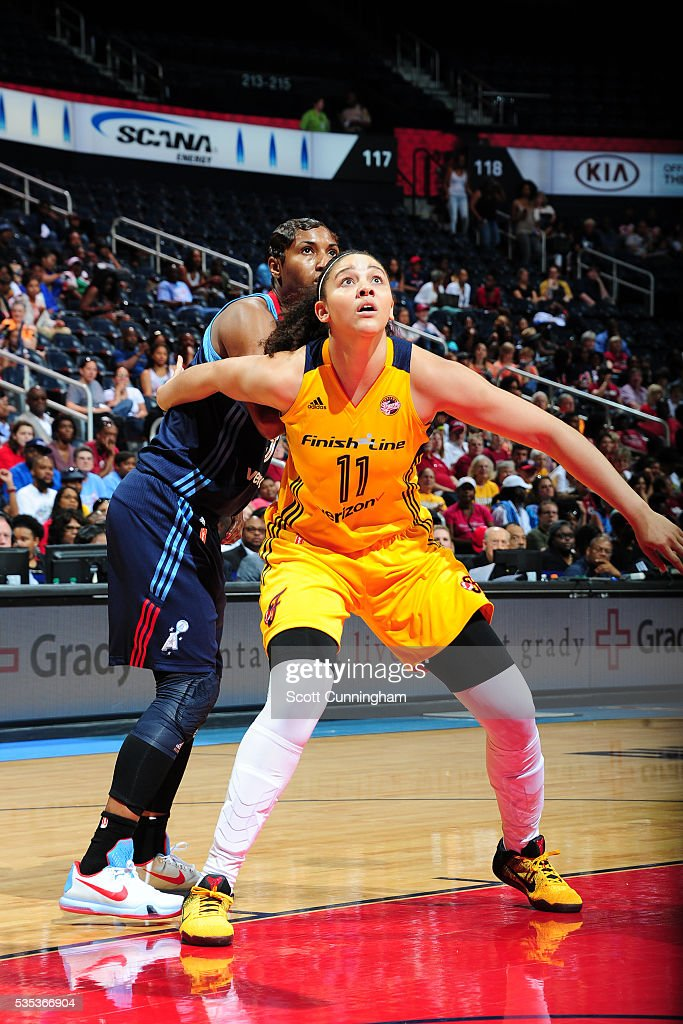 <a gi-track='captionPersonalityLinkClicked' href=/galleries/search?phrase=Natalie+Achonwa&family=editorial&specificpeople=7205881 ng-click='$event.stopPropagation()'>Natalie Achonwa</a> #11 of the Indiana Fever boxes out against <a gi-track='captionPersonalityLinkClicked' href=/galleries/search?phrase=Angel+McCoughtry&family=editorial&specificpeople=4423621 ng-click='$event.stopPropagation()'>Angel McCoughtry</a> #35 of the Atlanta Dream on May 29, 2016 at Philips Arena in Atlanta, Georgia.