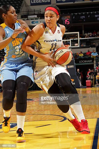 Natalie Achonwa of the Indiana Fever drives to the basket against the Chicago Sky in Game Two of the WNBA Eastern Conference Semifinals at Bankers...
