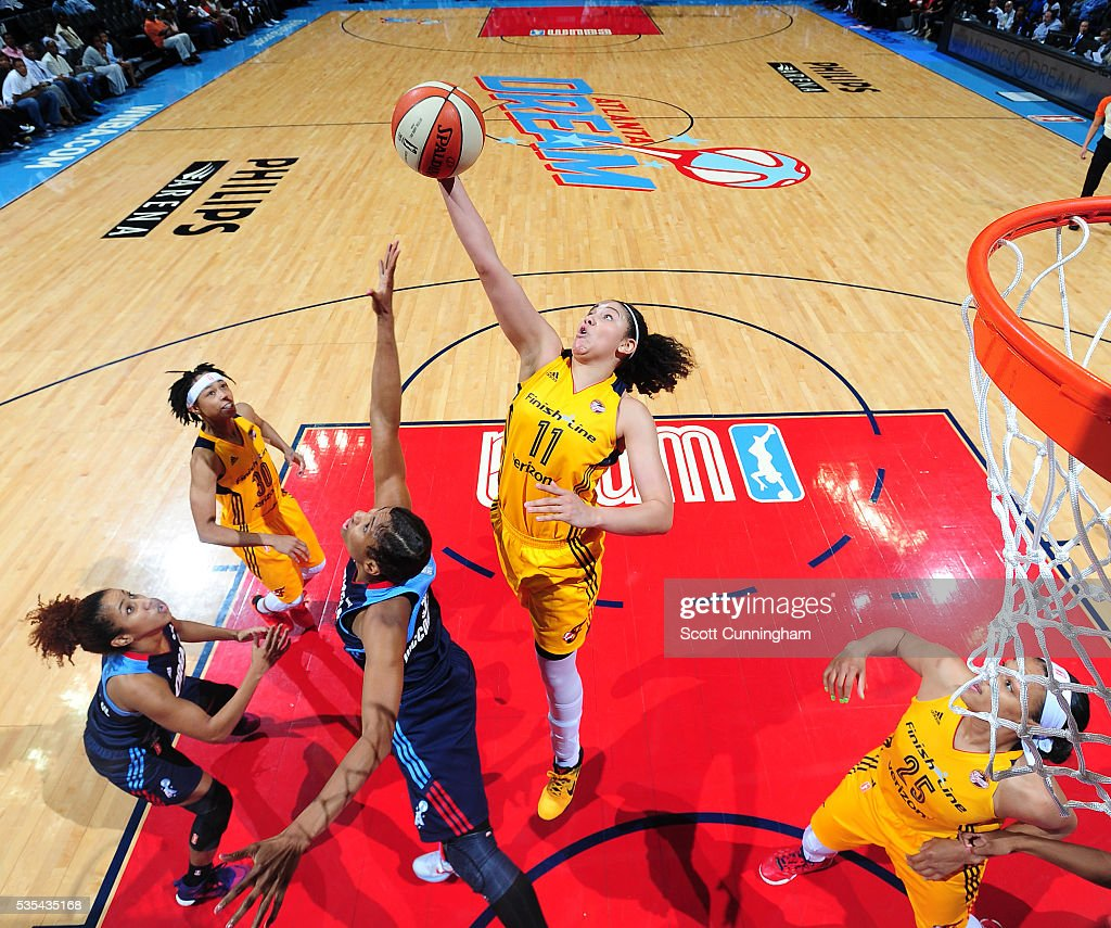 <a gi-track='captionPersonalityLinkClicked' href=/galleries/search?phrase=Natalie+Achonwa&family=editorial&specificpeople=7205881 ng-click='$event.stopPropagation()'>Natalie Achonwa</a> #11 of the Indiana Fever goes up for a rebound against the Atlanta Dream on May 29, 2016 at Philips Arena in Atlanta, Georgia.