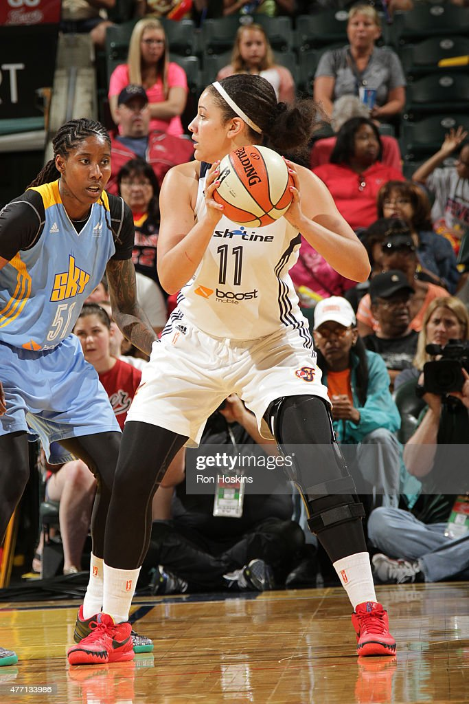 <a gi-track='captionPersonalityLinkClicked' href=/galleries/search?phrase=Natalie+Achonwa&family=editorial&specificpeople=7205881 ng-click='$event.stopPropagation()'>Natalie Achonwa</a> #11 of the Indiana Fever handles the ball against the Chicago Sky on June 14, 2015 at Bankers Life Fieldhouse in Indianapolis, Indiana.