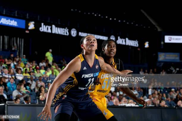 Natalie Achonwa of the Indiana Fever handles the ball against the Chicago Sky on June 18 2017 at the Allstate Arena in Chicago Illinois NOTE TO USER...