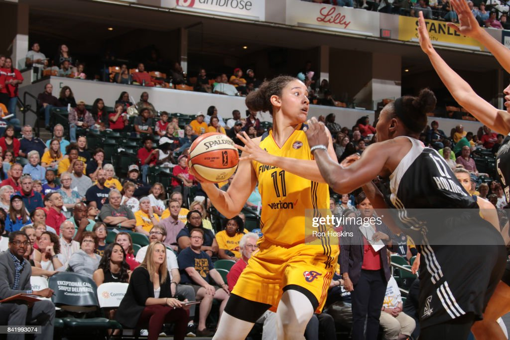 Natalie Achonwa #11 of the Indiana Fever handles the ball against the San Antonio Stars on September 2, 2017 at Bankers Life Fieldhouse in Indianapolis, Indiana.