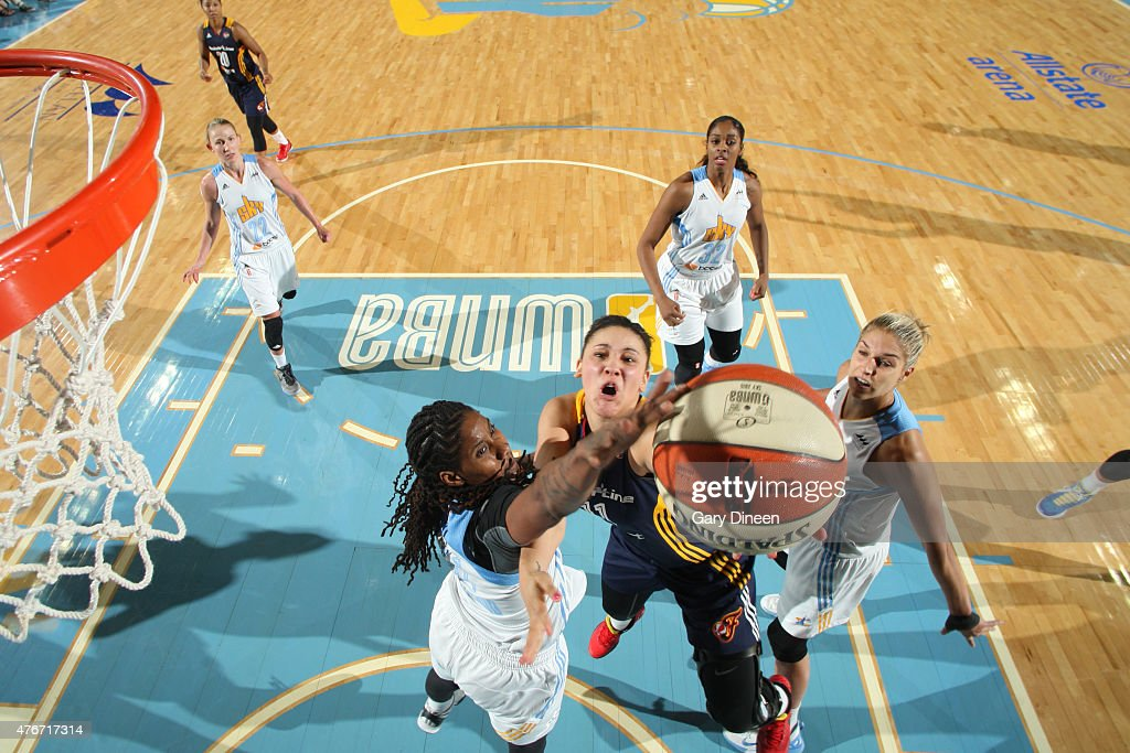 <a gi-track='captionPersonalityLinkClicked' href=/galleries/search?phrase=Natalie+Achonwa&family=editorial&specificpeople=7205881 ng-click='$event.stopPropagation()'>Natalie Achonwa</a> #11 of the Indiana Fever shoots against the Chicago Sky on June 5, 2015 at Allstate Arena in Rosemont, Illinois.