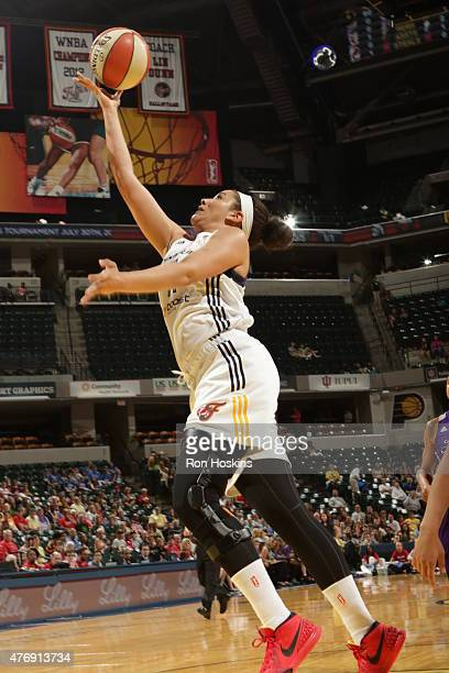 Natalie Achonwa of the Indiana Fever shoots against the Phoenix Mercury on June 12 2015 at Bankers Life Fieldhouse in Indianapolis Indiana NOTE TO...