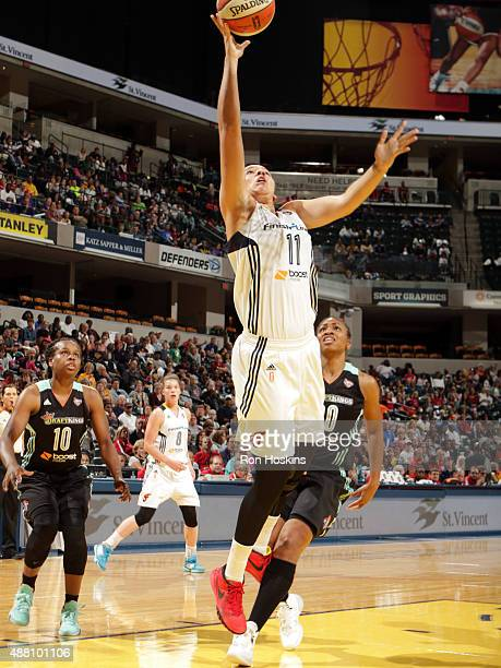 Natalie Achonwa of the Indiana Fever shoots the ball against the New York Liberty on September 13 2015 in Indianapolis Indiana NOTE TO USER User...