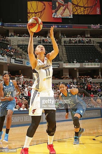 Natalie Achonwa of the Indiana Fever shoots the ball against the Minnesota Lynx during the game on June 6 2015 at Bankers Life Fieldhouse in...