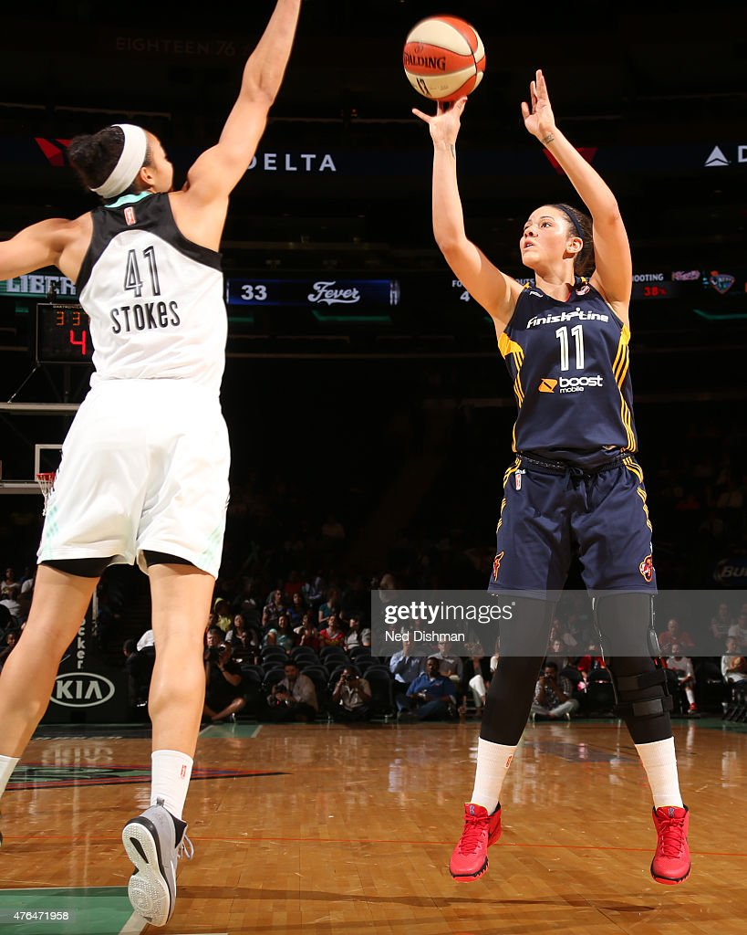 <a gi-track='captionPersonalityLinkClicked' href=/galleries/search?phrase=Natalie+Achonwa&family=editorial&specificpeople=7205881 ng-click='$event.stopPropagation()'>Natalie Achonwa</a> #11 of the Indiana Fever takes a shot against the New York Liberty during a WNBA game on June 9, 2015 at Madison Square Garden in New York, New York.