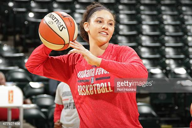 Natalie Achonwa of the Indiana Fever warms up before a WNBA game against the Washington Mystics on June 20 2015 at Bankers Life Fieldhouse in...