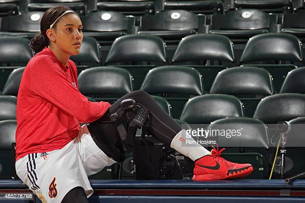 Natalie Achonwa of the Indiana Fever warms up before the game against the New York Liberty at Bankers Life Fieldhouse on August 23 2015 in...