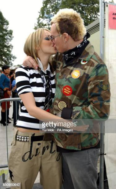 Natalie Appleton and her husband The Prodigy's Liam Howlett backstage during the Radio One Big Sunday concert in Victoria Park Leicester